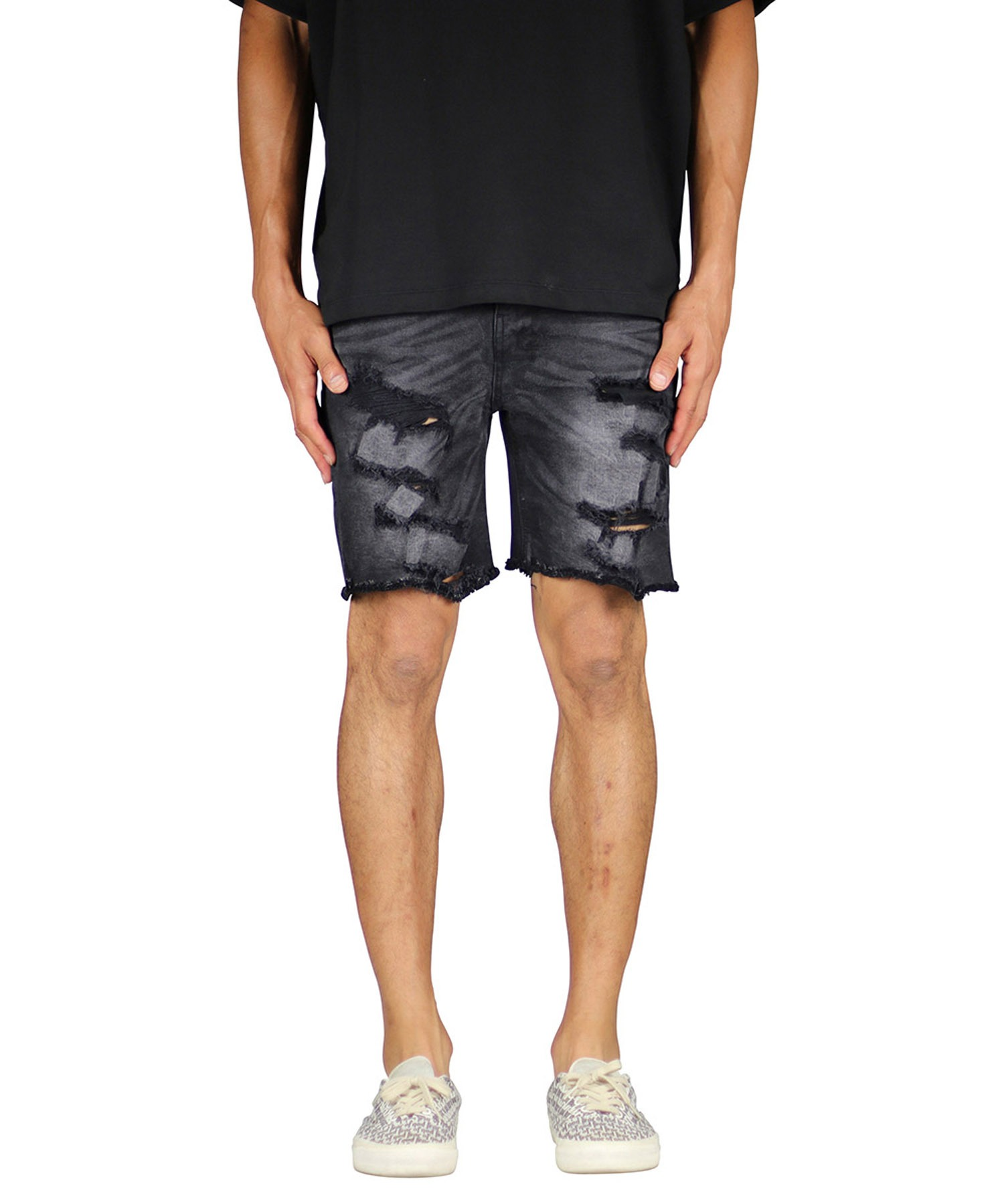 Black Destroyed Denim Short