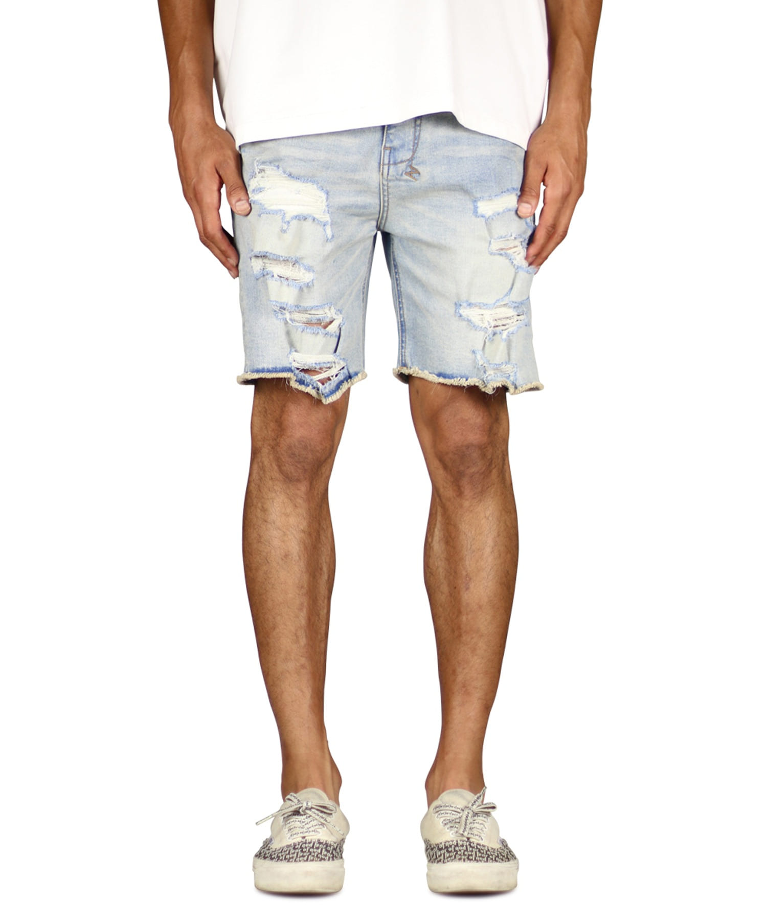 Light Blue Destroyed Denim Short