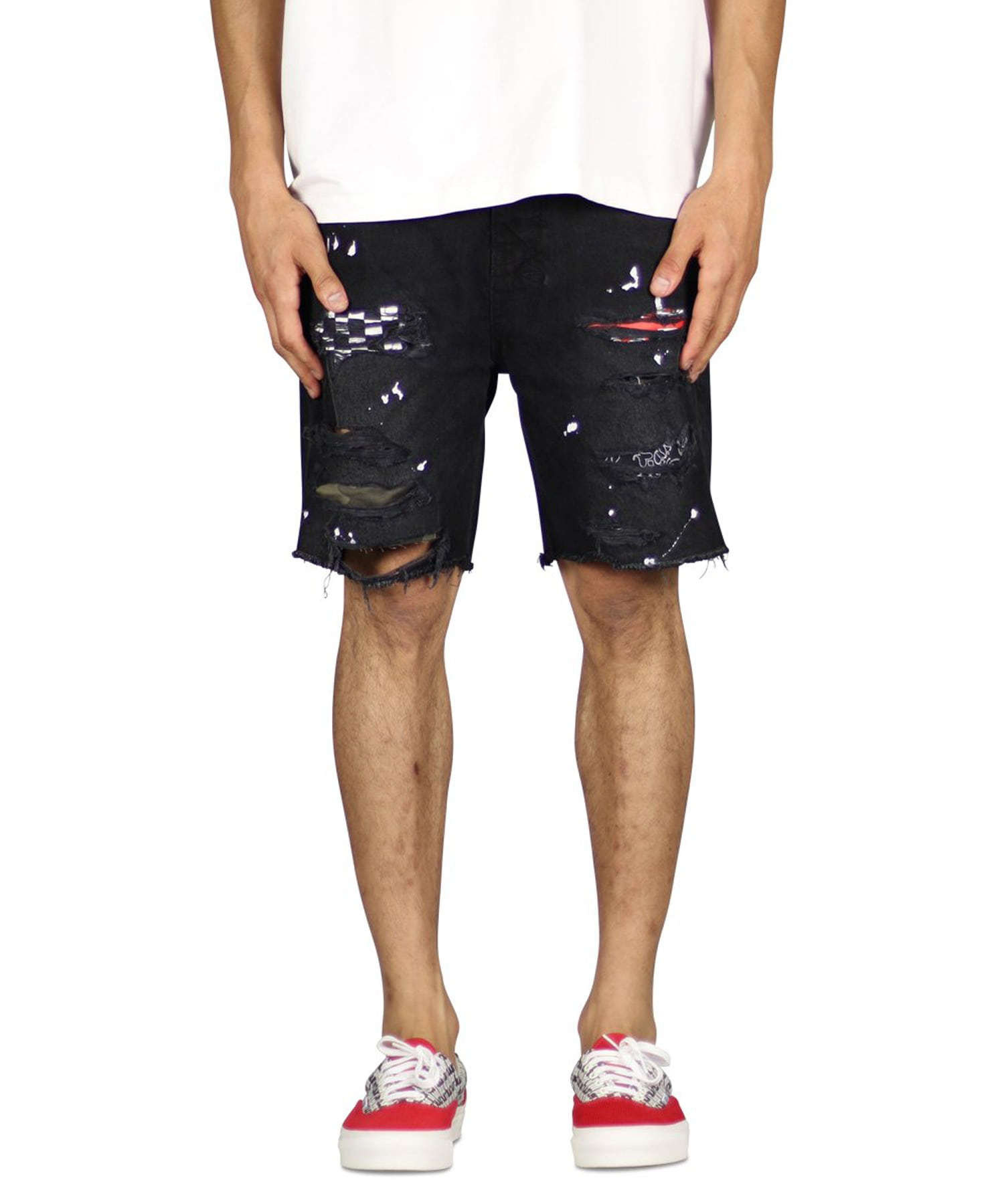 Black Patch Denim Short